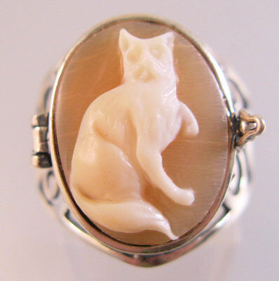 Cat Cameo Poison Locket Ring Hand Carved Shell Size 7.5 Sterling Silver Vtg Styl