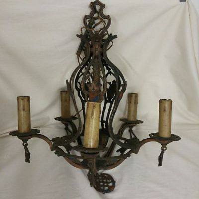 Vintage Chandelier Black Copper Wrought Iron Shields Gothic Medieval Brass