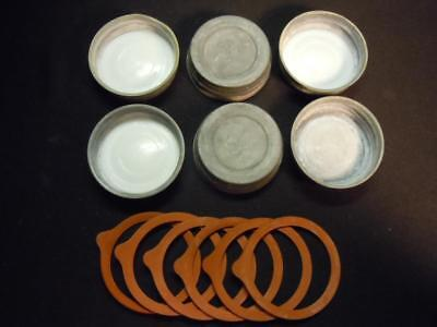 Zy] 6 Piece Lot Of Vintage Ball Zinc Canning Jar Caps & Rubber Seals