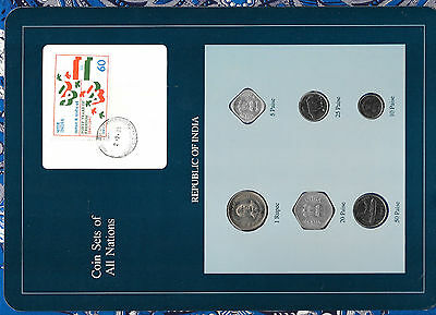 Coin Sets of All Nations India Blue wcard 1988-1990 UNC 1 Rupee 50,25 Paise 1990