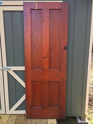 "27 5/8"" x 77 1/2"" Antique Vintage Victorian Solid Wood Wooden Interior Door"