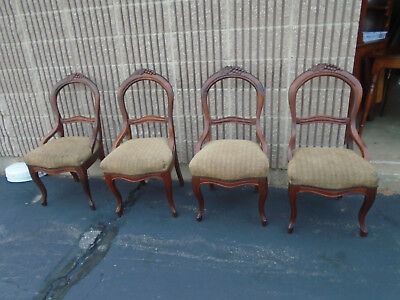 Four Vintage Antique Victorian Carved Mahogany Dining Room Chairs