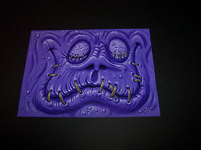 Dave Burke DB ORIGINAL ART ACRYLIC Painting Funny Stiched Purple Monster