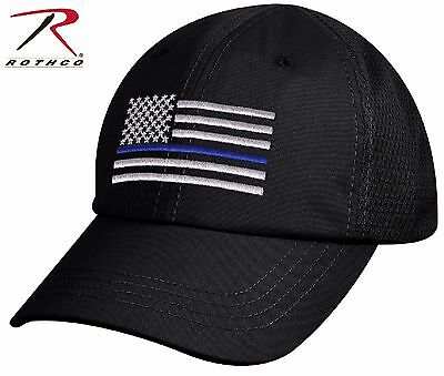 2eac49520f2 Mens USA American Flag Thin Blue Line Mesh Cap - Rothco Black TBL Baseball  Hat