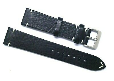 20mm Vintage Brown/White Genuine Leather Watch Strap Handmade Silver Tone Buckle