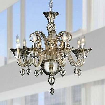 "8-Light D27"" x H27"" Venetian Style Golden Teak  Blown Glass Chandelier Light"