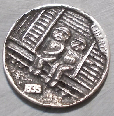 Hobo Nickel, Miniature Metal Carving, Traveling is Better with a Friend