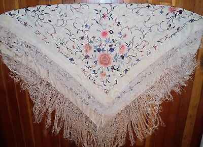 Antique Canton Manton de Manila Piano Shawl Colorful Flowers on Silk Embroidered