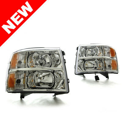 2007-2013 Chevy Silverado Replacement Headlights Headlamps Pair Left+Right Light