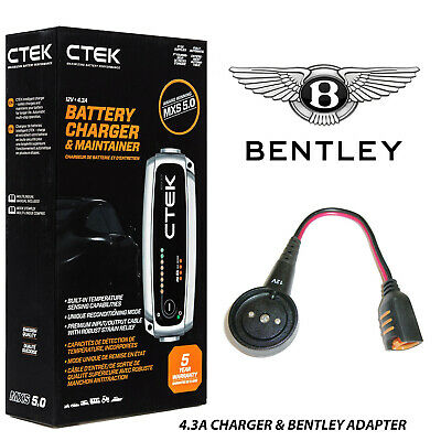 Bentley CTEK MXS 5.0 Battery Charger & Adapter GT Flying Spur Mulsanne Bentayga