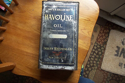 Havoline One Gallon Oil Can Indian Oil Co. New York 1920,s- 30,s