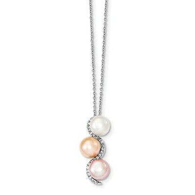 Sterling Silver 17in 8-9mm Multi-color FW Cultured Pearl and CZ Necklace