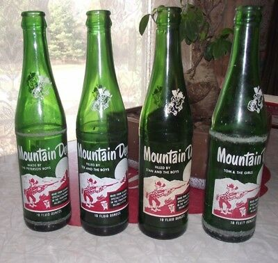 Lot of 4 Different Named Mountain Dew Hillbilly Bottles boys and girls 1965