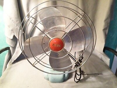 Vtg Zero Wall Desk Electric Fan Mcgraw Electric Model 12494 Blue Industrial 14""