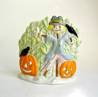 "Lenox Halloween Scarecrow Pumpkins 4.5"" Votive Candle Holder Porcelain"