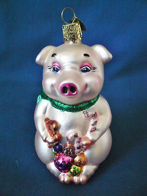 Old World Glass Ornament  ~ PINK PIG with CHRISTMAS GIFTS  ~