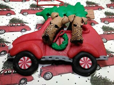 Two Airedale Terrier Dogs Handmade Ceramic Sculpture in Christmas Car Ornament