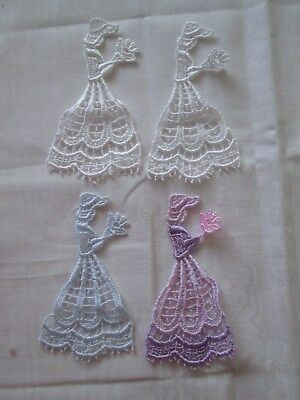 4 Different Coloured Lace Crinoline Ladies Appliques