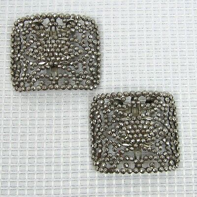 Pair of Vintage French Cut Steel Rivets Shoe Clips Signed LW Paris 2.38 W x 2 H