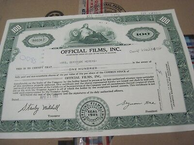 Official Film, Inc (now Official Industries) CANCELED STOCK  CERTIFICATE 1961-69