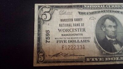 """ Wusstah"" 1929 $10 National Currency :: Worcester :: MA  Charter # 7595"