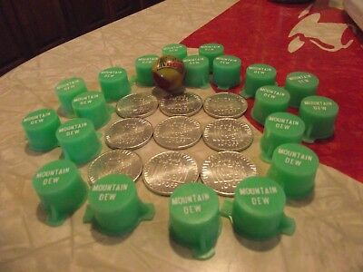 Vintage 70' mountain dew syrup tops(lot of 20), 9 unique tokens and 1 masher