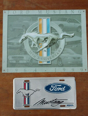 Ford Mustang 35th Anniversary metal sign and license plate cover