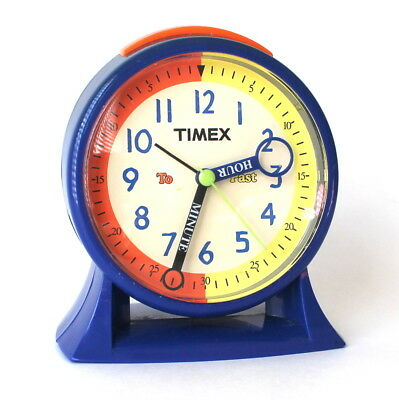 Vintage Timex Alarm Clock w/ Snooze Battery Operated Blue Orange Yellow Works!