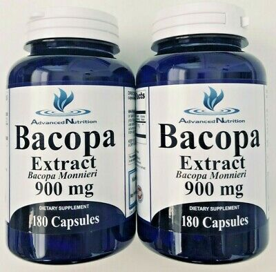 2 X Bacopa Extract 900 mg 360 Capsules Bacopa Monnieria 6 Month Supply USA MADE