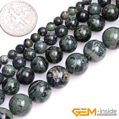 Natural Dark Blue Rhyolite Kambaba Jasper Gemstone Round Spacer Loose Beads 15""
