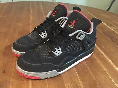 Nike Air Jordan IV 4 Retro Black/Cement/Fire Red 408452-089 GS Bred Size 7Y