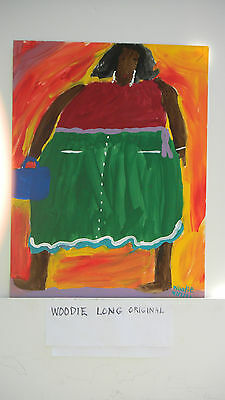 Original Early Folk Art Painting By Woodie Long