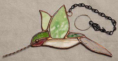 Green Hummingbird Sun Catcher Stained Glass Copper with Chain