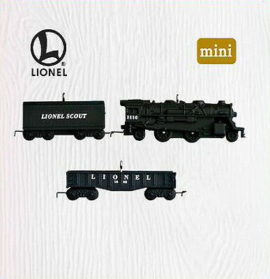 2010 Hallmark LIONEL Miniature Train SCOUT SET of 3 Ornament Locomotive & Cars