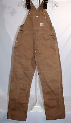 CARHARTT BU606 Duck Double Front Bib Overall,Boys / Youth sz 18 , Brown