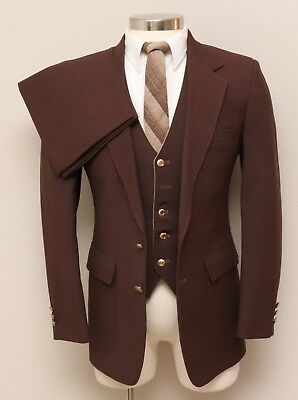 Vintage Mens 38R Sears Classic Collection 3 Piece Brown Suit w/ Reversible Vest