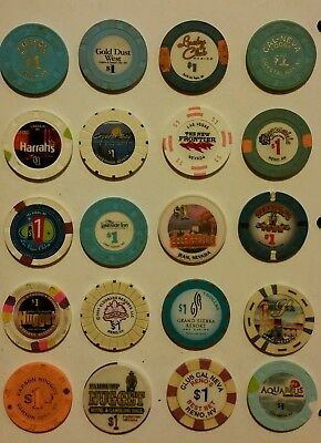 Nevada Casino $1 House Chips, Various Towns - 20 Lot Most Obsolete All Different