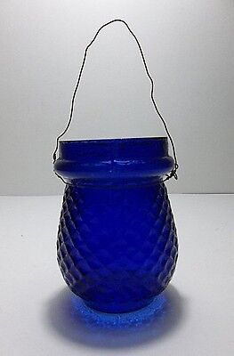 Antique 1800's Victorian Christmas Tree FAIRY LAMP Light Candle Cup COBALT BLUE