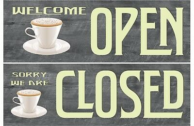 Open Closed Sign Hanging Wooden Sign / Plaque (Custom Logo or Stock)
