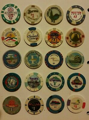 California Casino $1 Chips - Various Towns,  20 Lot Some Obsolete All Different