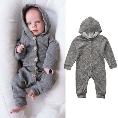 Baby Boys Girls Toddler Clothes Hooded Jumpsuit Romper Bodysuit Onepiece Outfits