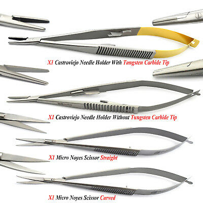 Castroviejo Forceps Surgical Spring Scissors Ophthalmic Suture Surgery Lab Kit
