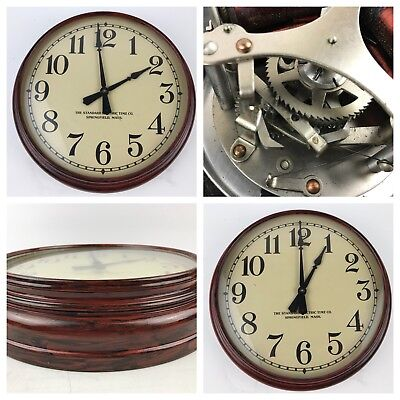 Lot of 2 Vintage Standard Electric Time Co Wall Clocks for Parts or Repair