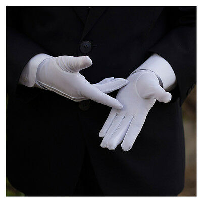 Men Police Formal Tuxedo Honor Guard Parade White Nylon Cotton Gloves 23 cm New