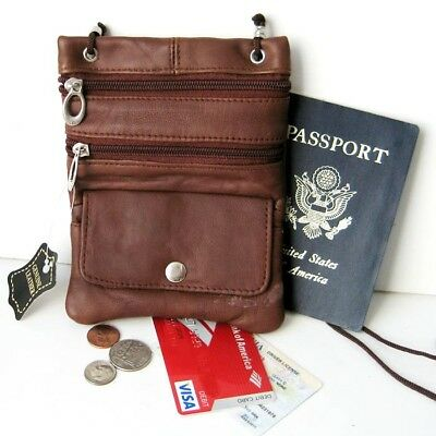 Brown Passport Leather ID Holder Neck Sling Pouch Travel Wallet String Purse