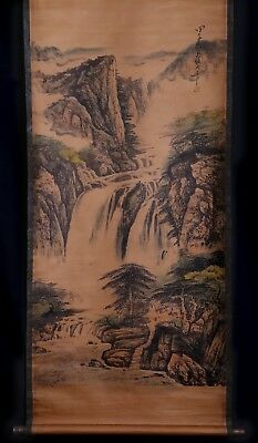 Vintage Chinese Old Scroll Handwork Painting Landscape Mark ZhangDaQian KK633 AC