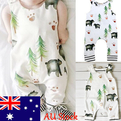 Newborn Kids Printed Bear Jumpsuit Baby Boys Sleeveless Romper Infant Outfit Set
