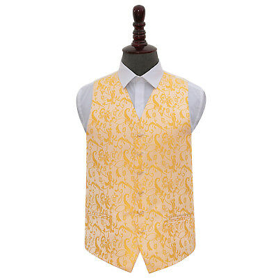 DQT Woven Floral Gold Formal Tuxedo Mens Wedding Waistcoat S-5XL