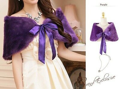 NEW Wedding Fur Shrug Size M Purple Grape for Lavender Dress USPS 1st Class