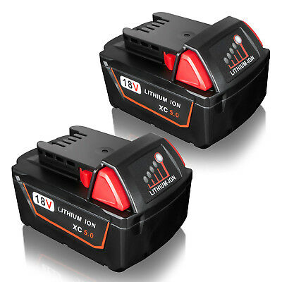 2x 18V 5.0Ah Red Lithium Ion XC Battery For Milwaukee M18 M18B4 48-11-1828